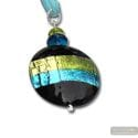 PENDANT NECKLACE GREEN / TURQUOISE MURANO GLASS VENICE HORIZON