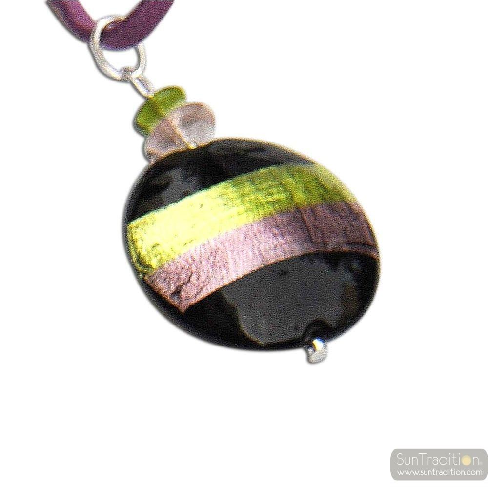GREEN / TURQUOISE PENDANT NECKLACE MURANO GLASS VENICE HORIZON