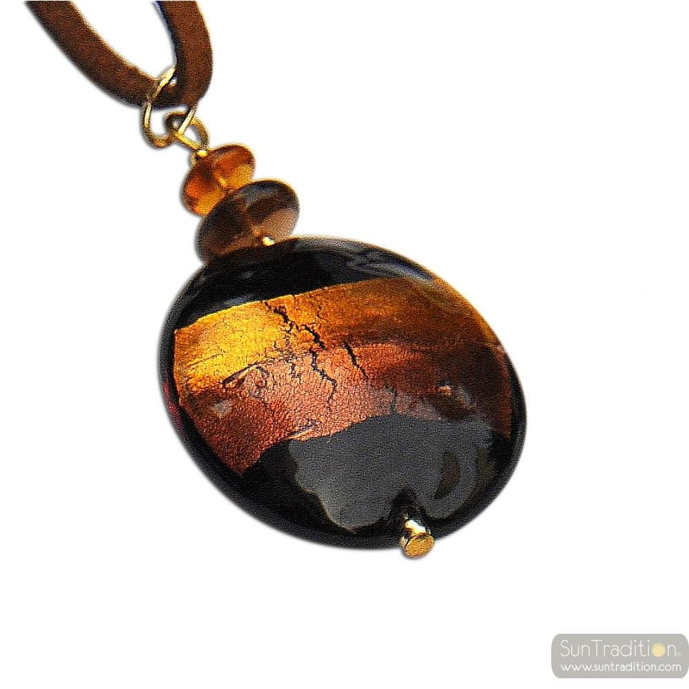 PENDANT BROWN/ GOLD MURANO GLASS VENICE HORIZON