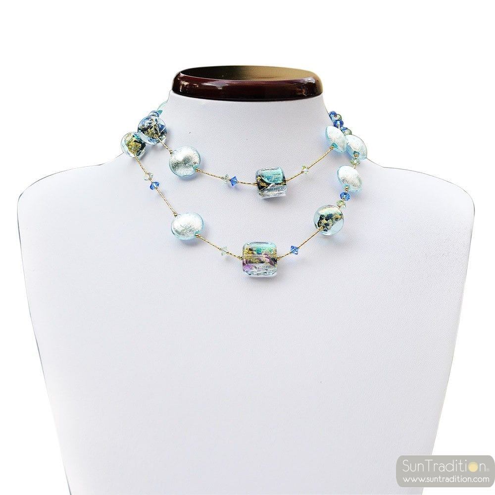 NECKLACE MURANO BLUE LONG JEWELRY VENETIAN