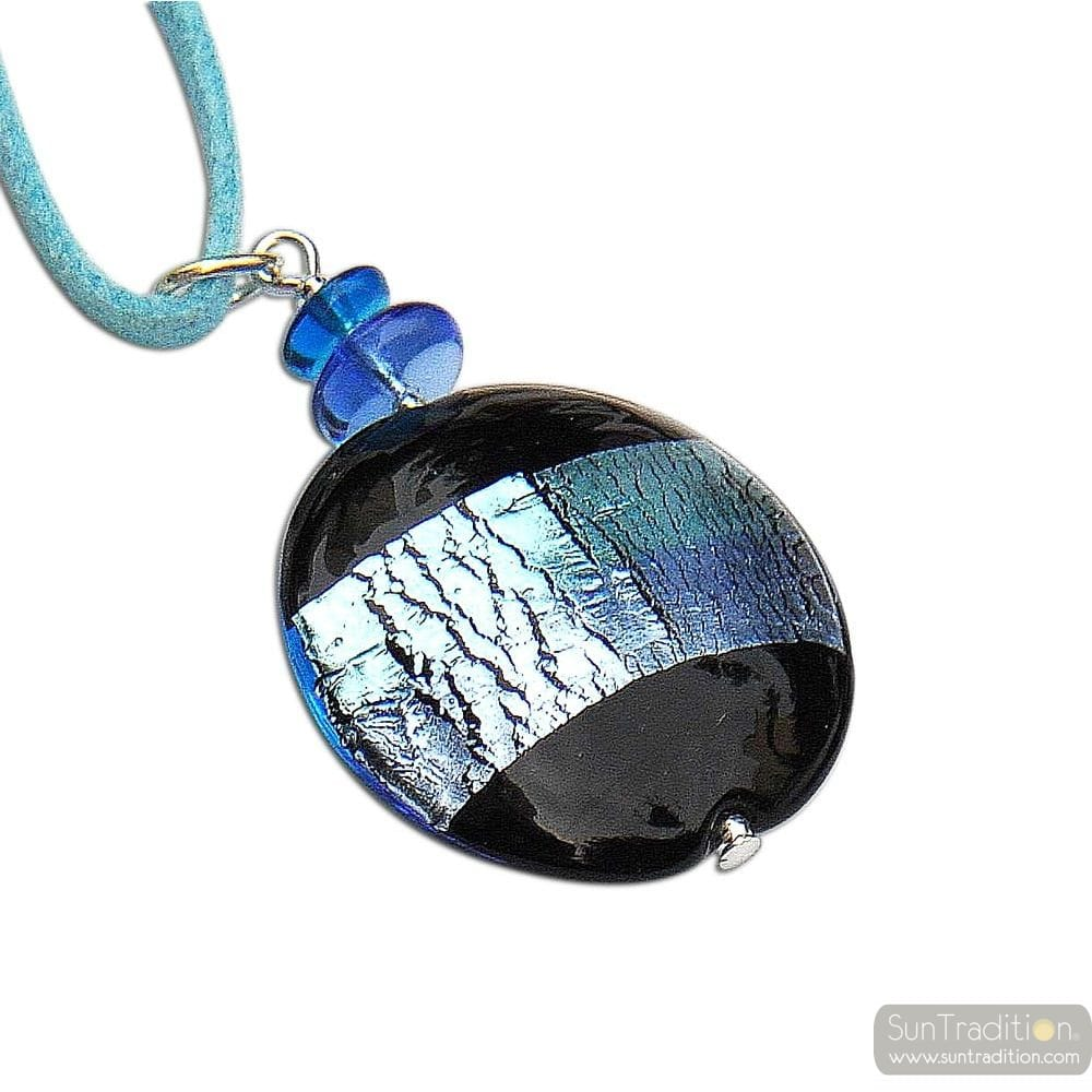 PENDANT GRAY BLUE MURANO GLASS VENICE SKYLINE