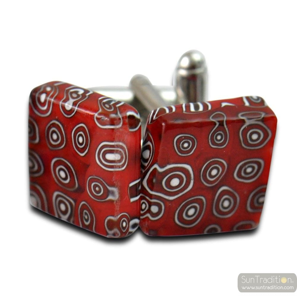 CUFFLINKS MIRO RED GLASS MURANO VENICE