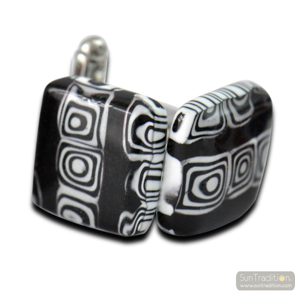 CUFFLINKS MIRO BLACK GLASS MURANO VENICE