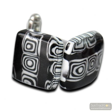 BLACK MURANO GLASS CUFFLINKS VENICE
