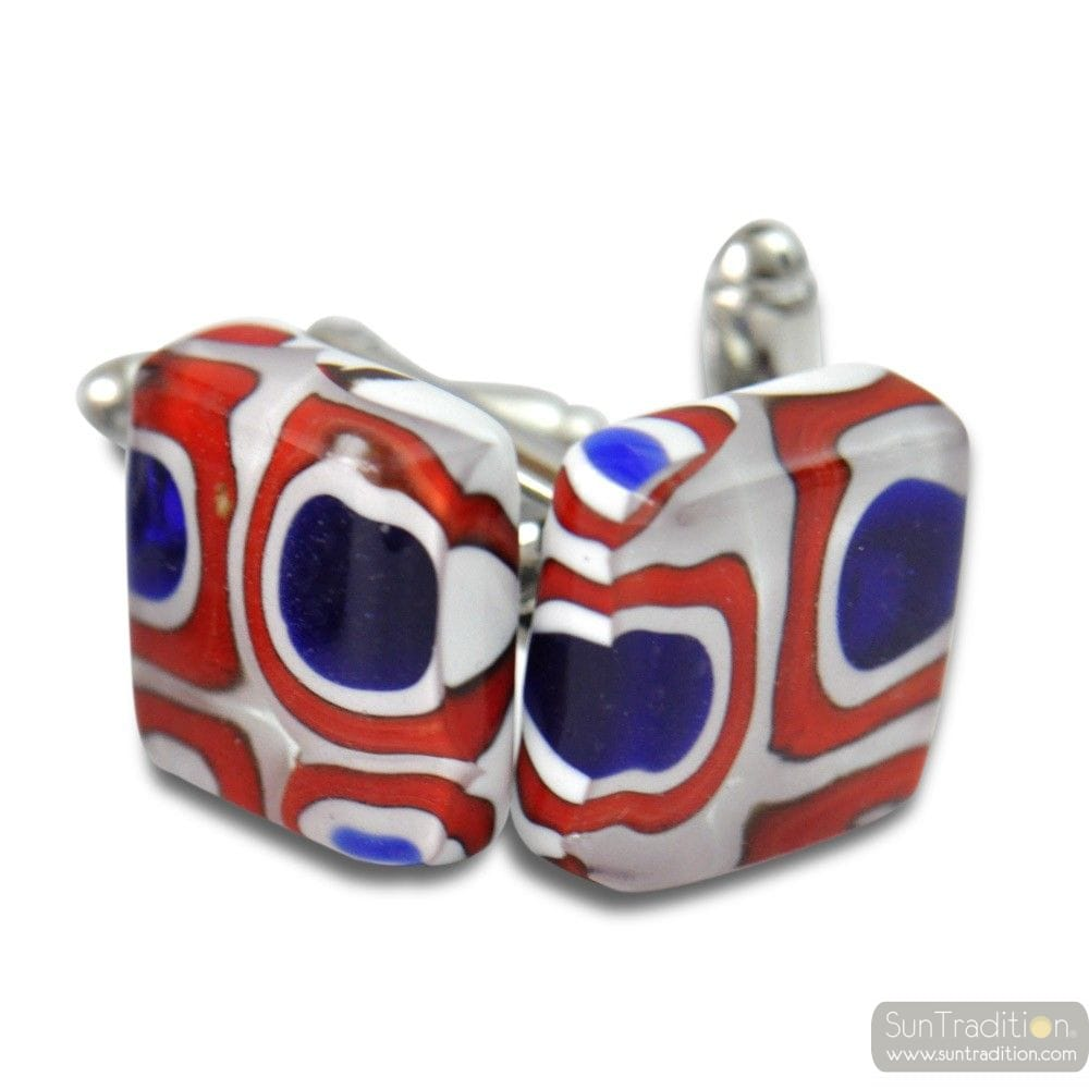 CUFFLINKS MIRO RED AND BLUE GLASS OF MURANO VENICE