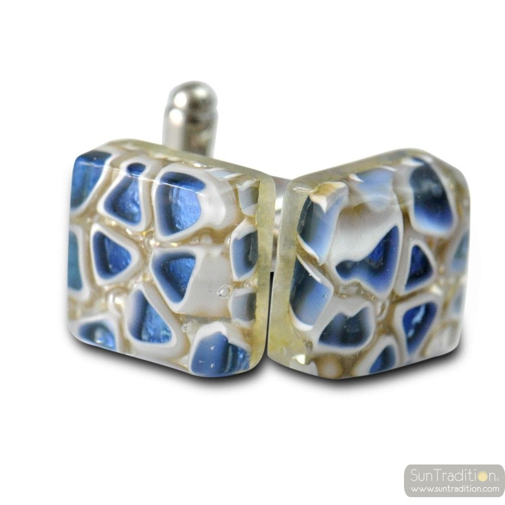 CUFFLINKS MIRO BLUE GLASS OF MURANO VENICE