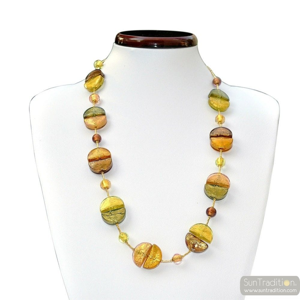 COLORADO OR COLLIER LONG BIJOU RAFFINE EN VERRE DE MURANO DE VENISE