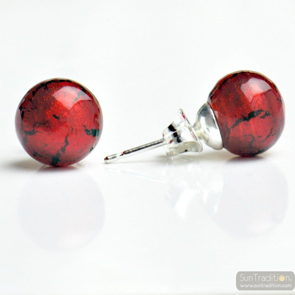 RED MURANO EARRINGS ROUND BUTTON NAIL GENUINE MURANO GLASS OF VENICE