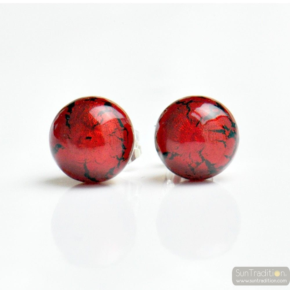 RED MURANO GLASS EARRINGS ROUND BUTTON NAIL GENUINE MURANO GLASS OF VENICE