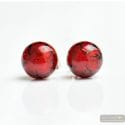 RED EARRINGS ROUND BUTTON NAIL GENUINE MURANO GLASS OF VENICE