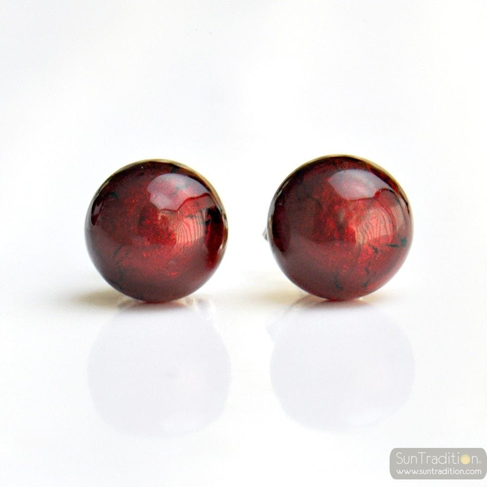 DARK RED EARRINGS ROUND BUTTON NAIL GENUINE MURANO GLASS OF VENICE