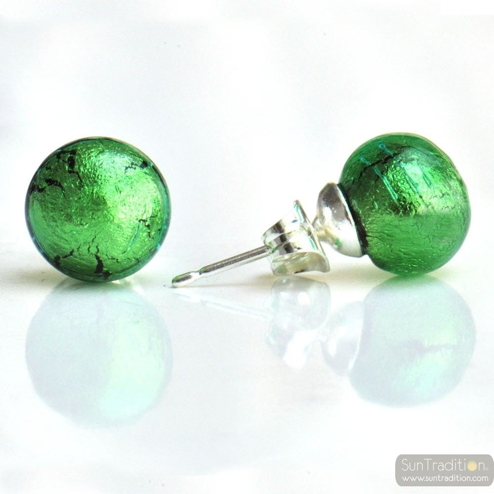GREEN MURANO GLASS EARRINGS ROUND BUTTON NAIL GENUINE MURANO GLASS OF VENICE