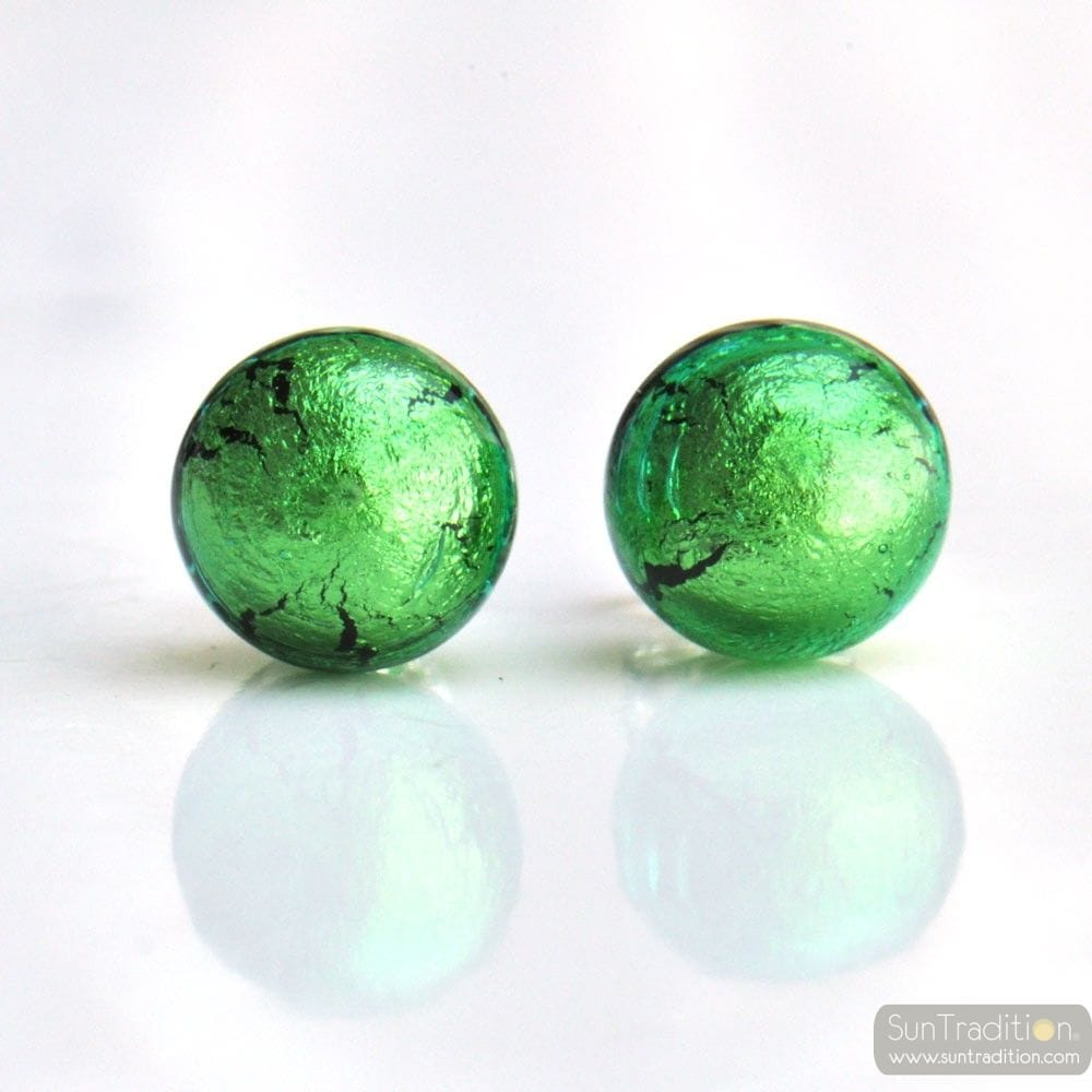 GREEN MURANO EARRINGS ROUND BUTTON NAIL GENUINE MURANO GLASS OF VENICE