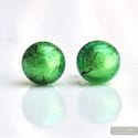 GREEN EARRINGS ROUND BUTTON NAIL GENUINE MURANO GLASS OF VENICE
