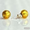 GOLD MURANO GLASS EARRINGS ROUND BUTTON NAIL GENUINE MURANO GLASS OF VENICE