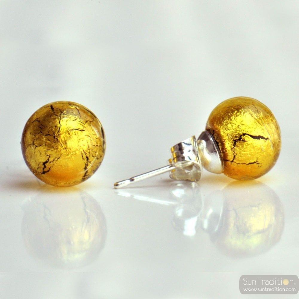 GOLD MURANO GLASS EARRINGS ROUND BUTTON NAIL GENUINE MURANO GLASS OF VENICE