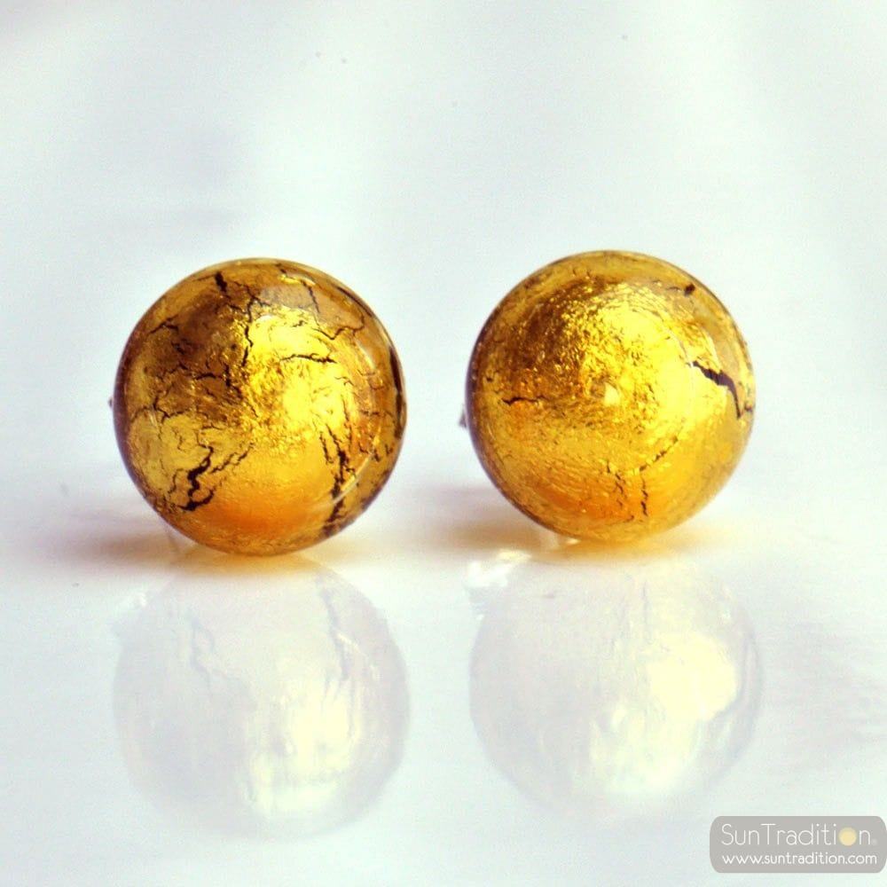 GOLD MURANO EARRINGS ROUND BUTTON NAIL GENUINE MURANO GLASS OF VENICE