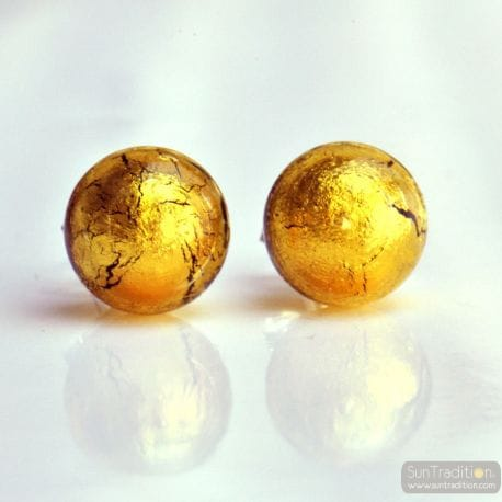 STECKEROHRRINGE GOLD AUS ECHTEM MURANOGLAS