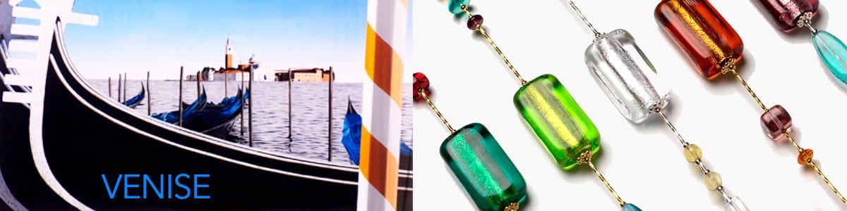 bijoux colliers artisanaux venitiens en véritable verre artistique de murano de venise, bracelet murano venise, boucles d'oreilles murano venise