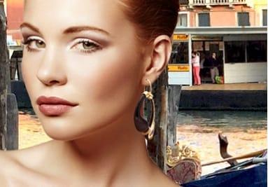 Ręcznie wykonany naszyjnik z bransoletką z biżuterii w prawdziwym szkle i srebrze Murano Wenecja